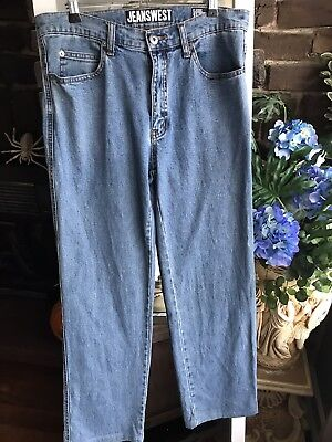 90s Jeans Vintage Jeanswest Size 34 Light Blue Stone Acid Wash Look Slim