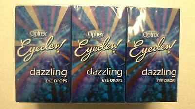 3 X 10ml Optrex Blue Eyedew Dazzling Eye Drops Brighten Super White