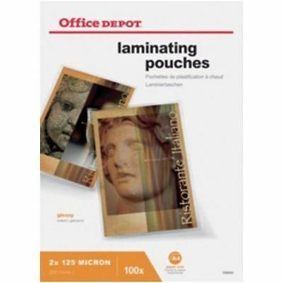 Office Depot A4 250 Micron Clear Gloss Laminating Pouches - Pack of 100