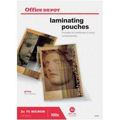 Office Depot A4 150 Micron Clear Gloss Laminating Pouches - Pack of 100