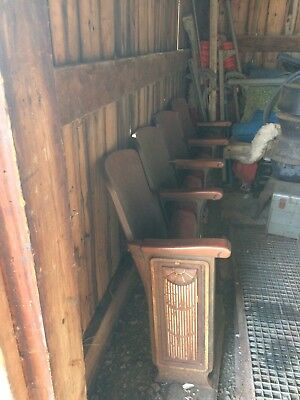 Antique Wood Theater Seats from School Auditorium pre-fifties
