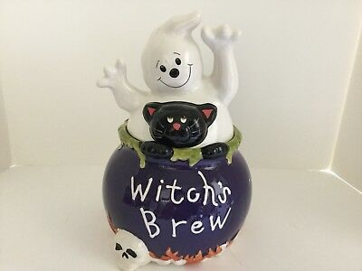 David's Cookies Witches Brew Cauldron Cookie Jar W/Black Cat/Ghost PERFECT COND.
