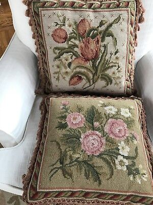 Pair Of Shabby Cottage Floral Needlepoint Pillow Covers (only) Roses / Tulips.