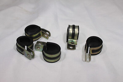 New X 5 steel p clips with rubber insert 15mm stamped as5419/10 hose clip