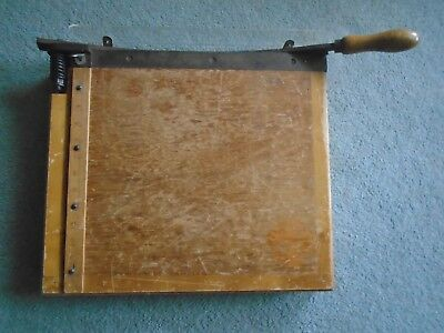 Large Heavy Working Vintage Wooden Paper Guillotine or Cutter with Plastic Guard