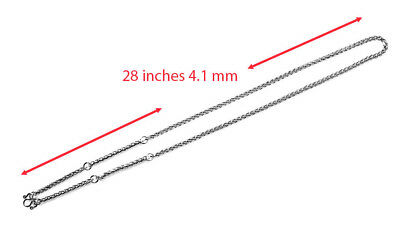 4.1mm 5hook 28 inches Stainless Steel Necklace Solid for thai amulet handmade#19