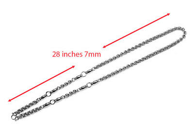 7 mm 5 hook 28 inches Stainless Steel Necklace Solid for thai amulet handmade#17