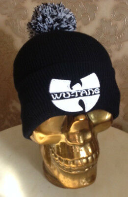 7280cc2eaf2 Wu Tang Beanie Cap Bobble Hat Logo Fully Knitted Black Sale Gang Black  Beanie