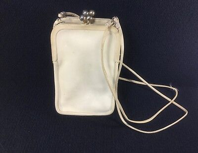 Vintage Genuine Thick White Leather Coach Purse 1950's-60's Liebermann's Lansing