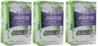 Lot de 3 paquets Always - Discreet Serviettes Normal pour Fuites Urinaires et In