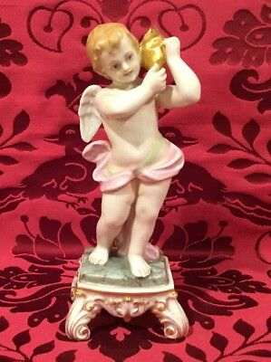 Antique CAPODIMONTE GOLD TRIM Angel Putti Sea Shell No Losses