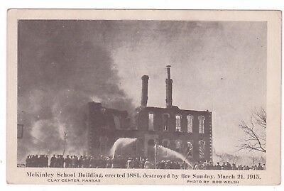 McKinley School Building Erected in 1881 on Fire in 1915 in CLAY CENTER, KANSAS