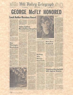 Back To The Future Hill Valley Telegraph George McFly Print/Poster Prop/Replica