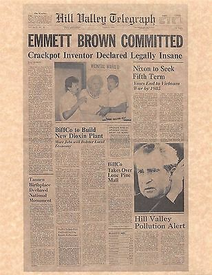 Back To The Future Hill Valley Telegraph Emmett Brown Print/Poster Prop/Replica