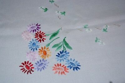 """Vintage Pretty Hand Embroidered Flowers Linen Tablecloth 40"""" x 36"""""""