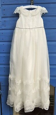 Hand made silk and lace christening gown 6-12 months
