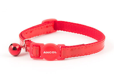 Ancol Gloss Reflective Safety Release Cat Collar Red Blue Silver