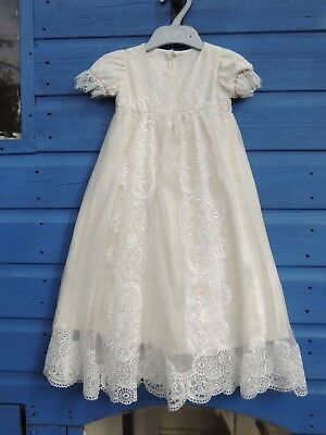 Hand made silk organza christening gown with lace embellishment 0-3 months