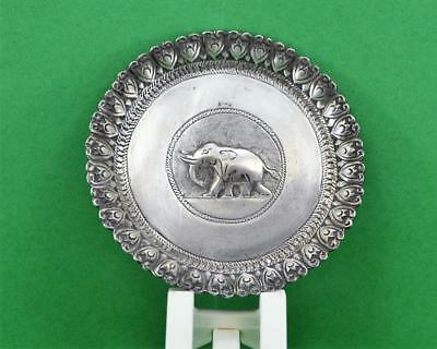 Indian Burmese ? Sterling silver pin dish raised Elephant design HB Lion ? mark