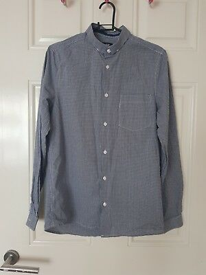 H&M boys blue checked long sleeve shirt Age 11-12 years Excellent Condition