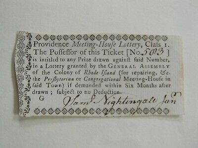 RARE COLONIAL RHODE ISLAND LOTTERY TICKET from 1761 signed SAML NIGHTINGALE
