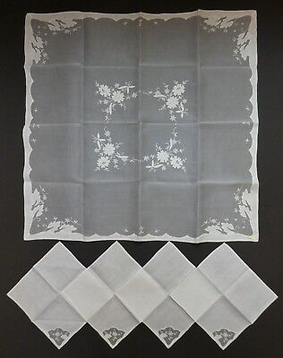 Vintage French Embroidered White Silk Organza Shadow Work Table Cloth, 4 Napkins
