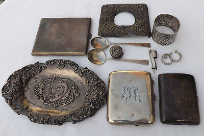 Antique Scrap Solid Silver 396.9 Grams Cigarette Cases / Spoons Other