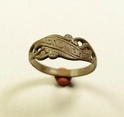 "Late Medieval Bronze Ring -""remember Me"" On Bezel - Wearable Artifact"