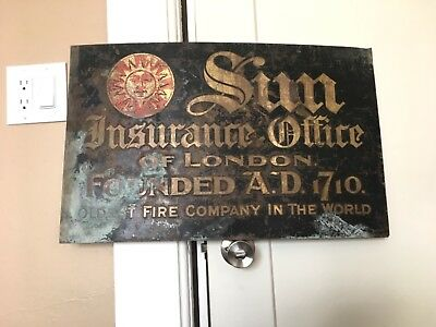 Antique VTG Early Sun Insurance Sign Solid Copper London England Fire