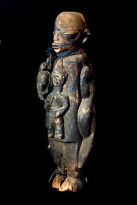 "Antique Authentic African ""Yoruba"" Hand Carved Shrine Statue; 1800'S"