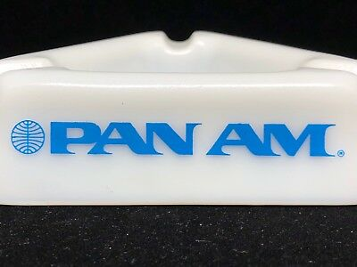 vintage Pan Am American Airlines ashtray glass triangular opalex? mid-century