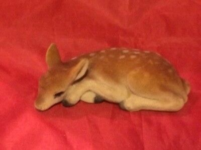Vintage Flocked Spotted Reindeer Fawn Laying Down Retro Christmas Decor