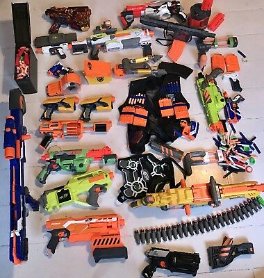 Nerf Guns-Large Bundle Of Nerf Guns & Other Accessories - Please See Photos