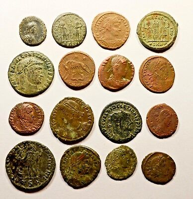 Lot Of 16 Imperial Roman Bronze Coins For Identifying - 048