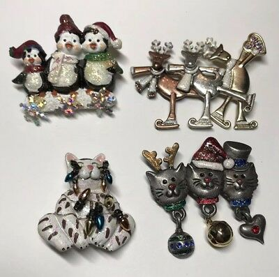 lot of 4 Holiday X Mas Reindeer Cat Peguin Pin Brooches
