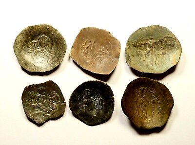 Lot Of 6 Ancient Byzantine Cup Coins - Nice Detail / Large Core