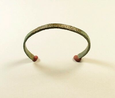 DECORATED Ancient Viking Bronze Bracelet - 8th - 11th C AD - WEARABLE ARTIFACT