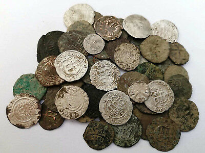Lot 50 medieval Hungarian coins silver, silvered and bronze 12-17 Century