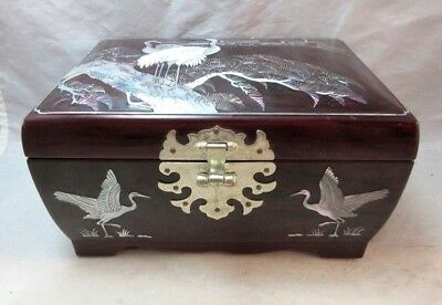 Japanese wood jewelry box. Mother of pearl inlay cranes