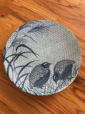 "Japanese Arita Large Round Blue & White 14"" Quail & Millet Charger"