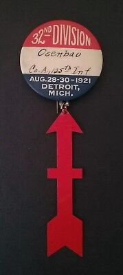 WWI Pinback 32nd Division 125th Division Reunion 1921 Celluloid Insignia Arrow