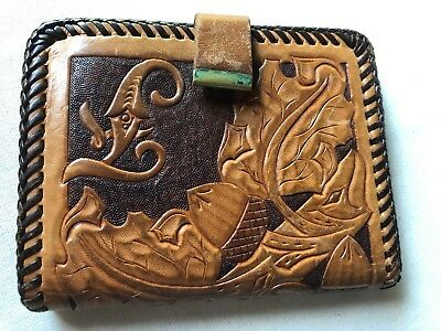 1c3023ba9adf VINTAGE TOOLED LEATHER Wallet Leaves and Acorns Unique and Beautiful ...