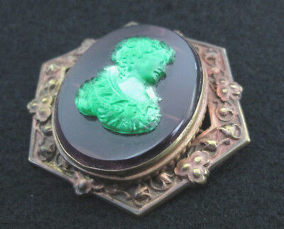 Vintage Amethyst Cameo Glass Pin or Brooch - Art Nouveau Copper Bezel, very nice