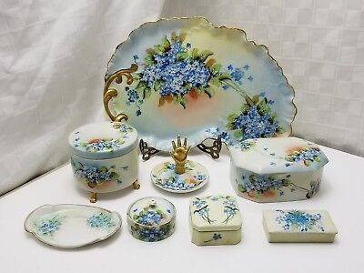 Antique Porcelain 8 PIECE LIMOGES VANITY SET Hand Painted POWDER TRINKET BOX