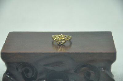 New Gold plated glossy flower three-dimensional sculpture cool ring gift