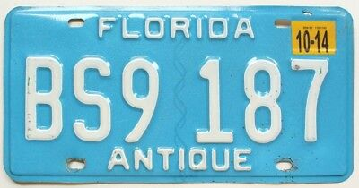 Light Blue Florida 2014 ANTIQUE HISTORIC VEHICLE License Plate, BS9 187