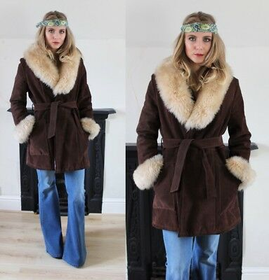 vintage 1970s Suede And Shearling Penny Lane Fur Collar Coat Size S/M