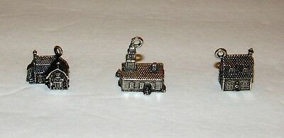 3 Department 56 Village Charms Sterling Silver Dickens Cobbler Church Bakery