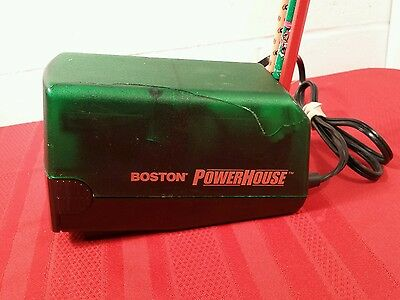 BOSTON Powerhouse Electric Pencil Sharpener Green Clear MADE USA Model 19 Tested