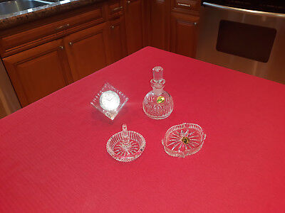 "Lot Of Four (4) Vintage Waterford Vanity Pieces  ""great Condition"""